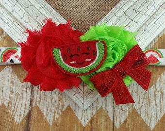 Watermelon headband, summertime headband, girls headband, toddler headband, baby headband, felt headband, fruit headband, summer time