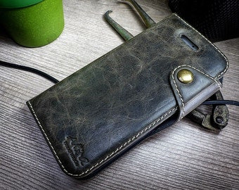 ONE  Handmade Real Leather Case Cover Wallet Card Brown For iphone 6