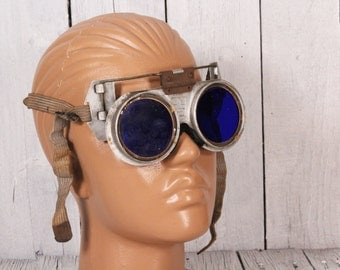 Blue Welders Glasses - Safety Glasses - Steampunk Goggles - Old Welding Goggles GOTHIC - Air Pirate Style With Cording - Crazy Frog glasses
