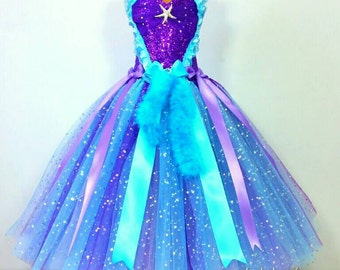 Ariel the Little Mermaid Inspired Super Sparkly Tutu Dress-Birthday, Party, Pageant, Fancy Dress, Princess