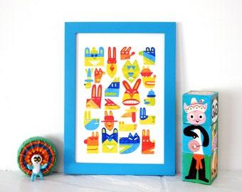 Super bright colourful art print, fun illustration print,  nursery room art, cute print, felt tip, kids, rabbits, bears, A3 print, A4 print