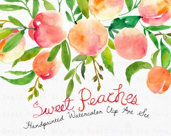 Watercolour Clipart Set. Handmade, watercolour clipart, summer, wedding diy elements, fruit - Sweet Peaches