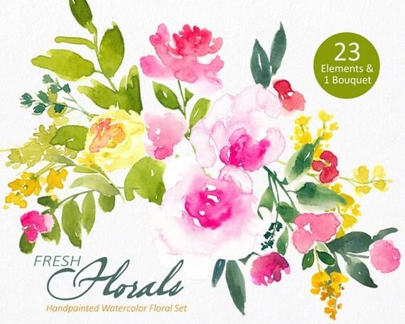 Digital Clipart- Watercolor Flower Clipart, peonies Clip art, Floral Bouquet Clipart, wedding flowers clip art- Fresh Florals Elements