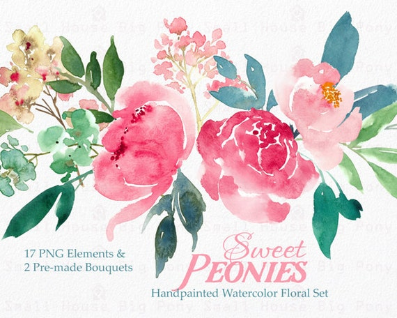 Digital Clipart- Watercolor Flower Clipart, peonies Clip art, Floral Bouquet Clipart, wedding flowers clip art- Sweet Peonies