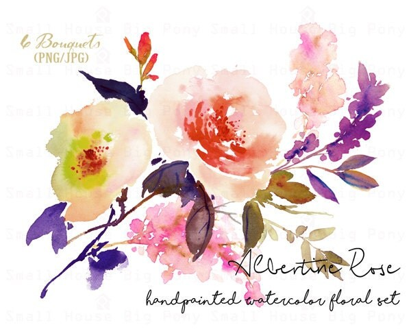 digital clipart watercolor flower clipart rose clip art floral bouquet clipart wedding. Black Bedroom Furniture Sets. Home Design Ideas