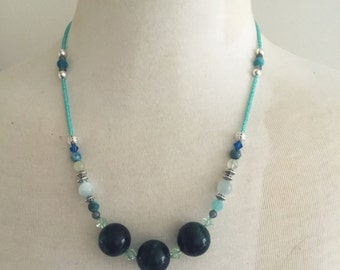 Green tigers eye beaded necklace