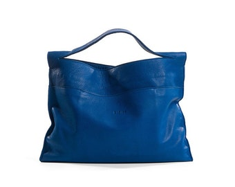 ON SALE 30% Blue leather tote , Leather tote bag , Women leather bag , Blue leather bag , Leather shoulder bag - COL
