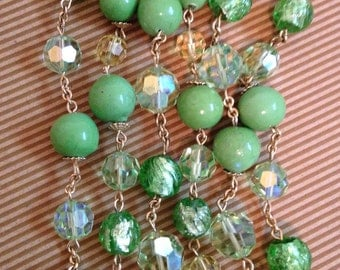 Vendome Summer Green~Art Glass~Crystal~Ceramic Beaded Triple Strand Necklace