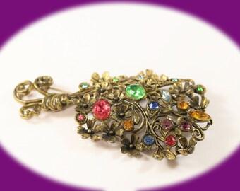 Vintage Rhinestone Brooch Beautiful Old Rhinestone Pot Metal Floral Brooch   Vintage Jewelry