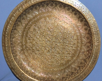 Vintage Hand Made Wall Decor Ornate Floral Brass Plate