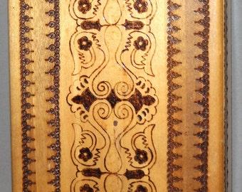 Vintage Pyrography Wood Hand Made Box