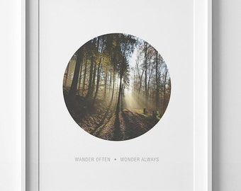 Wander often wonder always printable quote, nature photography print, forest print, adventure print, nature print, forest photography poster