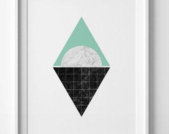 Wall art print, mint abstract art, minimalist print, marble print, green poster, minimalist printable art, abstract print, green wall art
