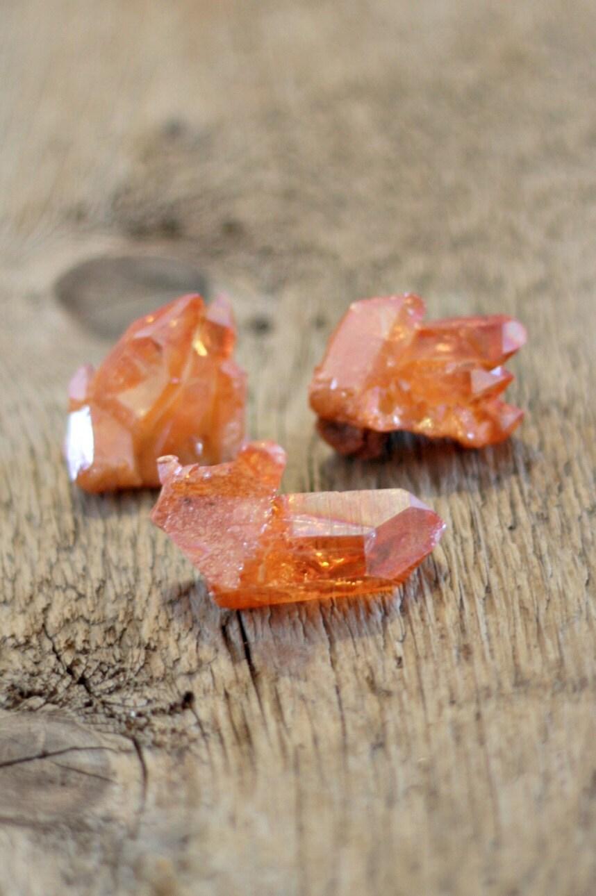Tangerine Aura Quartz Cluster Orange Aura Quartz By