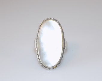 Huge Vintage Sterling Silver MOP Mother of Pearl ring size S 1/2 UK 9.75 Us, Fine jewellery