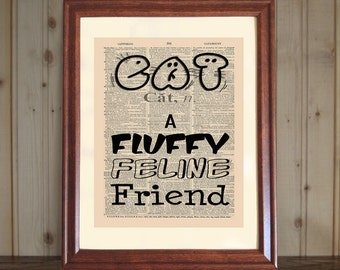 Cat Dictionary Print, Cat Lover's Gift, Cat Quote, Cat Wall Art, Vet Office Decor, Witty Cat Saying, Cat Print on 5x7 or 8x10 Canvas Panel