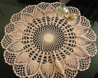 "Vintage Peach Blossom 24"" Crochet Doily Table Topper"