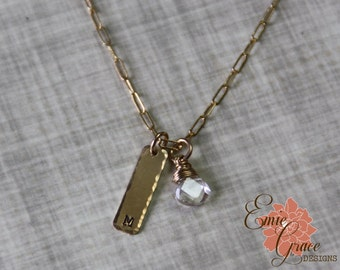 14k Gold Initial Necklace, Gold Filled Stamped Bar, Personalized, Birthstone Jewelry, Bridesmaid Gift