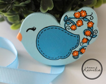 Pacifier clip - Blue bird