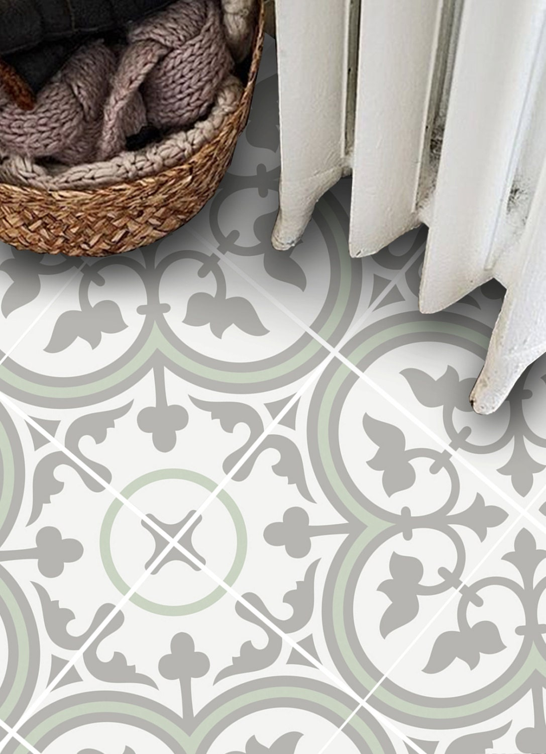 vinyl floor tile sticker floor decals carreaux ciment encaustic trefle 2 tile sticker pack. Black Bedroom Furniture Sets. Home Design Ideas