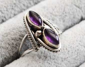 Bali Double Amethyst Sterling Silver Bohemian Ring