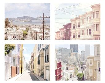 San Francisco Print Set of 4, Photography Prints, California Wall Art, San Francisco Art, Photo Set, Victorian Houses, Alcatraz, Pastel art
