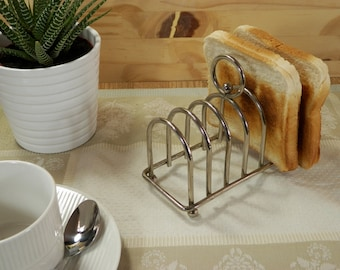 Toast rack vintage silver metal for breakfast or tea-time toast holder| 6 Toasts |  Tableware Made in France 1970