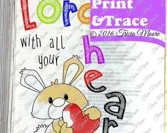 BIBLE JOURNALING Trust in the Lord print and trace COLOR margin art