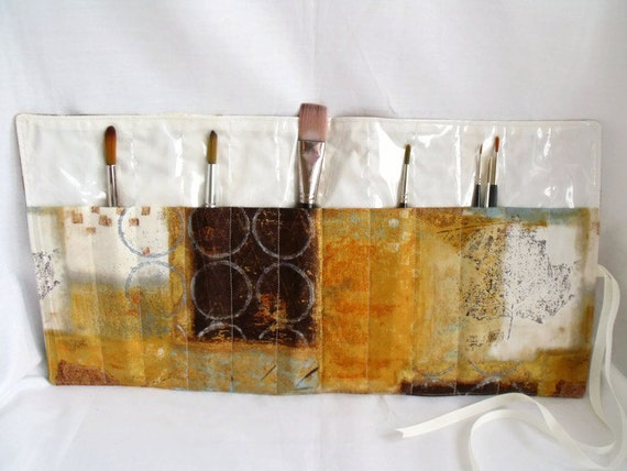 "paint brush roll, travel brush holder, watercolour brush holder, acrylic brush case, travel tool roll, 19.5"" x 10"", abstract fabric"
