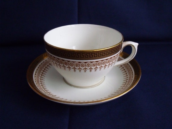 crown Chelsea duo, bone china greek key cup and saucer, collectable china, black and gold