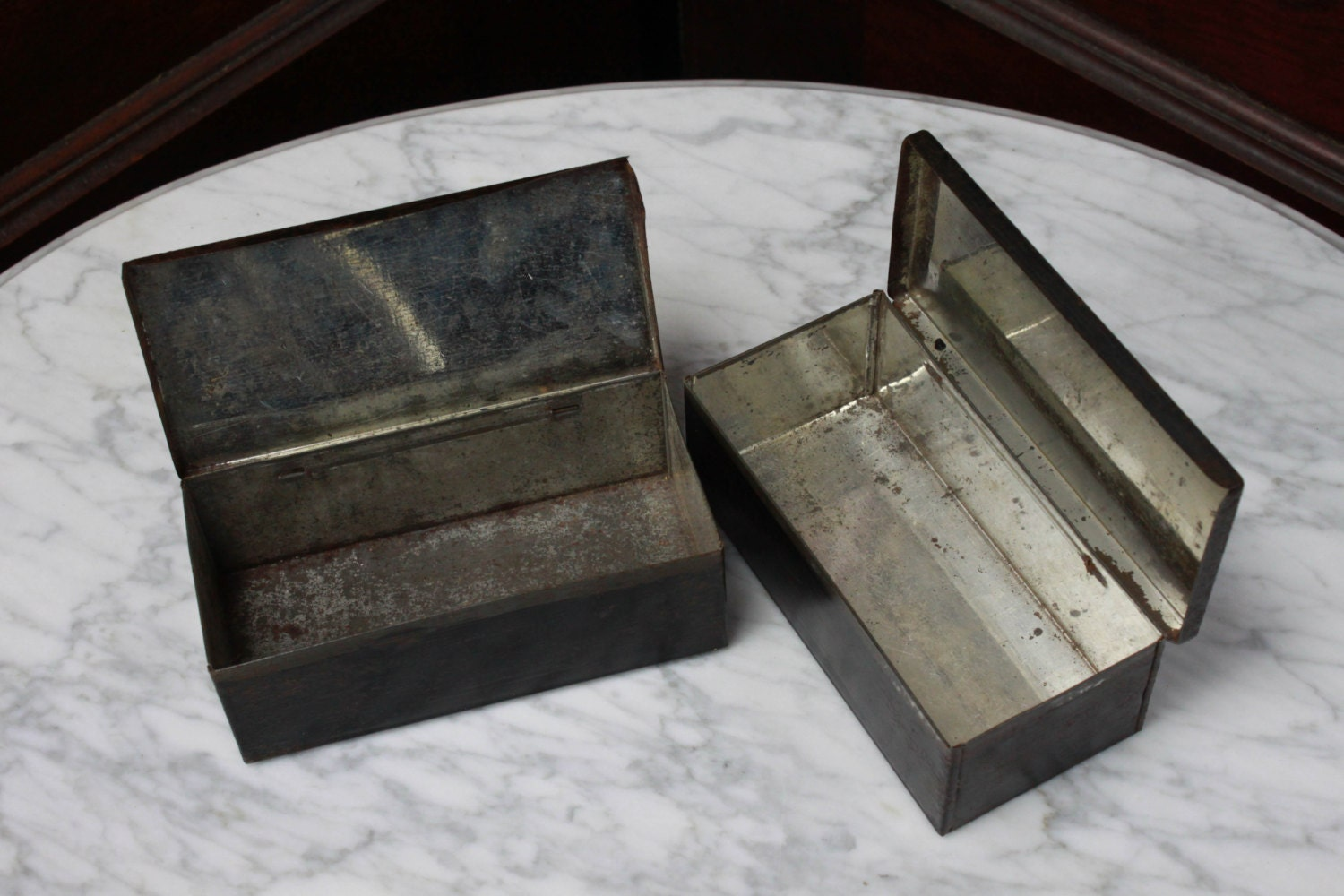 Decorative Metal Boxes With Lids : Vintage tin boxes lot of hinge lid mid century or