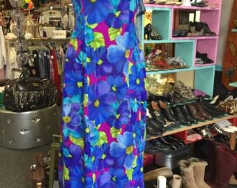 "Beautiful, blues, purples, greens muumuu, Made in Hawaii, 35"" bust, 29"" waist, fluid hip"