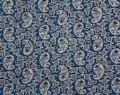 Vintage blue paisley cott...
