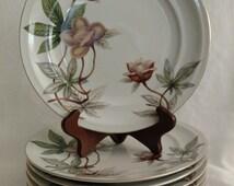 Woodrose (F & B Japan) by Meito Dinner Plate Set of 8 Tan Flowers, Green Leaves