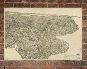 Brooklyn New York  Vintage Print Poster Map 1897  Poster of NY Map Art Wall Decor