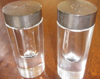 Vintage Mid Century Modern Lucite & Chrome Salt and Pepper Shakers