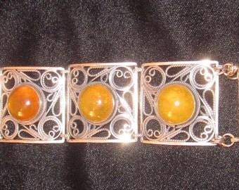 Vintage 925 Sterling Silver Butterscotch Baltic Amber Link Bracelet