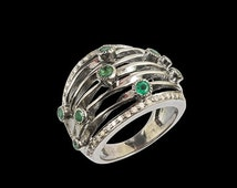 Valentines Day 1 PC Beautiful  Yellow Diamond  With Emerald Stone Ring - 925 sterling silver Diamond Handmade Ring  RD-8333