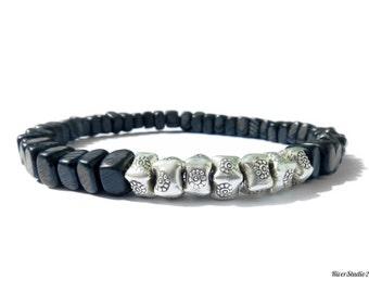 Black Horn Nuggets Hill Tribe Silver Beads Bracelet / Men Bracelet