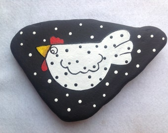 SALE, Whimsical Polka Dot Chicken Painted Rock Paperweight, Office Supply