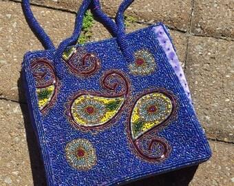 Violet Purple Beaded Purse Handbag Paisley Vintage