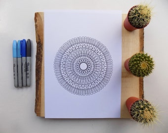 Downloadable.PDF .mandala. colouring page .for adults or older children.eastern sapphire.illustration.Coloring pages.