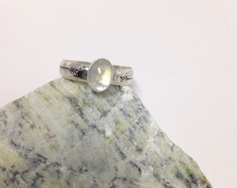 Oval Hammered Moonstone Ring