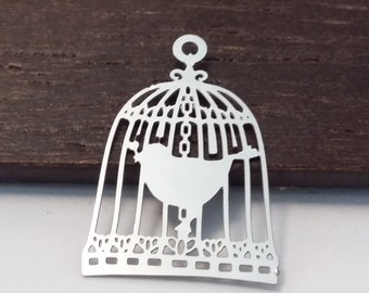 5pcs Birdcage Charms - Stainless Steel Silver Tone - 22x15mm - Jewelry Supplies - Cardmaking - Scrapbook - B56941