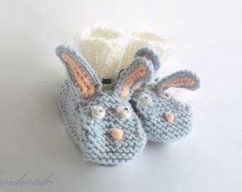 Knit bunny slippers Etsy UK