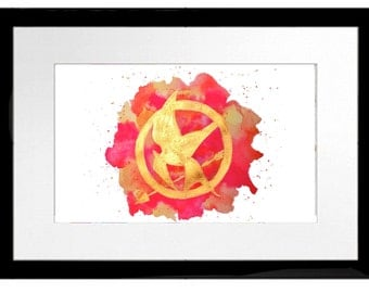 The Hunger Games Mockinjay Symbol Watercolor Painting