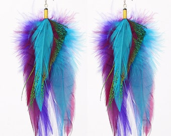 Natural Feather Earrings - Colorful Purple, Blue and Green Feathers - Nexus