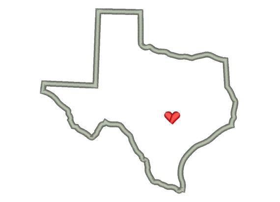 Texas State Outline Appliqu Designs Machine Applique Embroidery