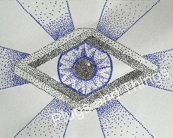 Geometric eye in a Penrose/impossible diamond black blue dot art *hand drawn, unique, made to order*