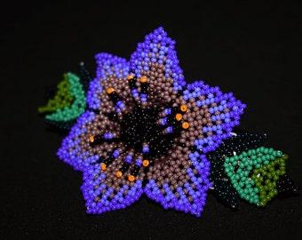 Native American Barrette, Huichol Hair Barrette, Beaded Hair Clip, Huichol Jewelry, Flower Hair Barrette, Flower Hair Clip, Purple, Blue